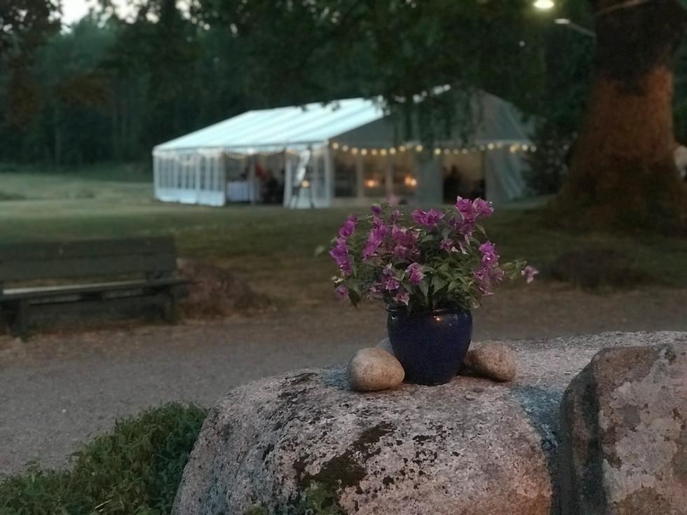 Teltet gir en hyggelig ramme, Foto: Grønsand Gjestegård