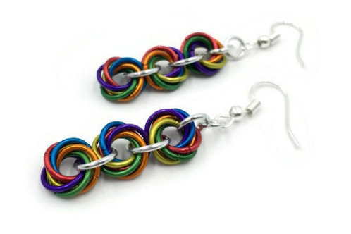 Triple Mobius Earrings, Matte Rainbow ($11-$12)