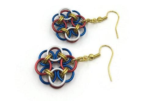 Helm Chain Medallion Earrings, Patriotic ($7-$8)