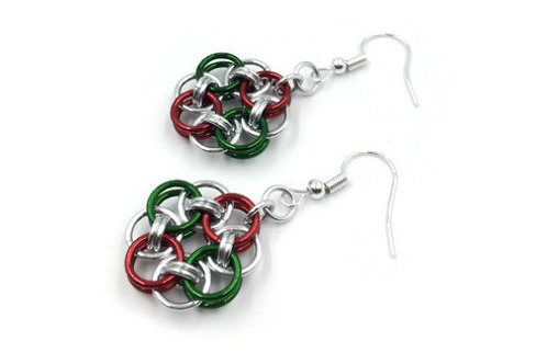 Helm Chain Medallion Earrings, Christmas ($7-$8)