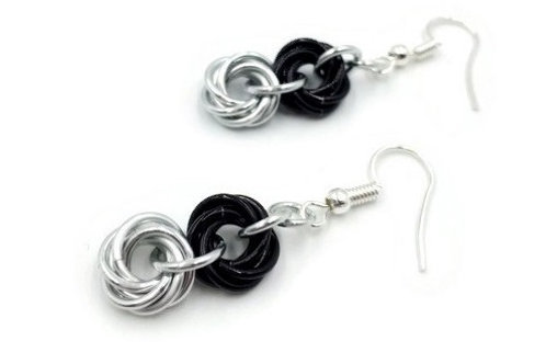 Double Mobius Earrings, Halved,Clip-ons