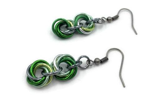 Double Mobius Earrings, Green Mix ($8-$9)