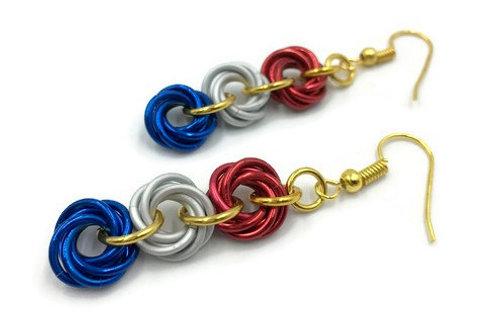 Triple Mobius Earrings, Patriotic ($11-$12)