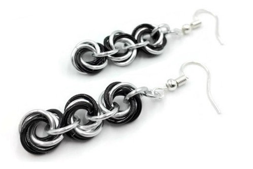Triple Mobius Earrings, Split, Hypoallergenic Hooks