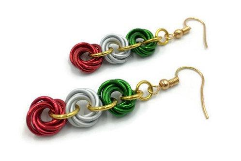 Triple Mobius Earrings, Christmas Solids ($11-$12)