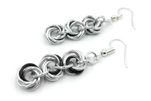 Triple Mobius Earrings, Accents, Hypoallergenic Hooks
