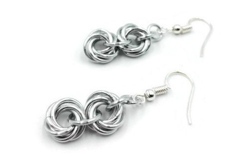 Double Mobius Earrings, Solid, Hypoallergenic Hooks