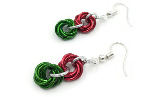 Double Mobius Earrings, Christmas Solids ($8-$9)