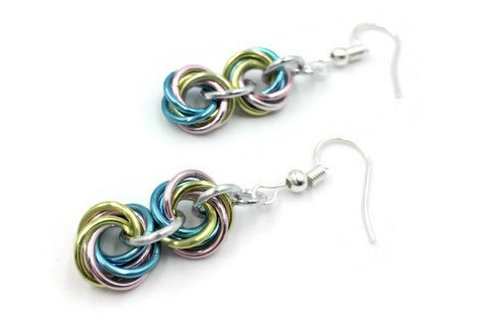 Double Mobius Earrings, Pastels ($8-$9)