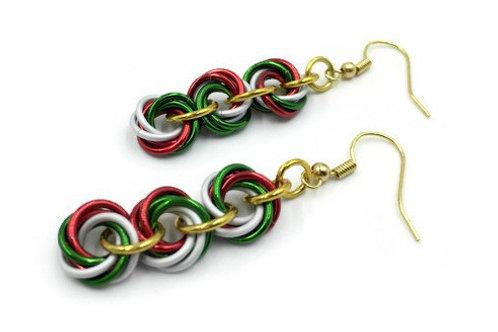 Triple Mobius Earrings, Christmas ($11-$12)