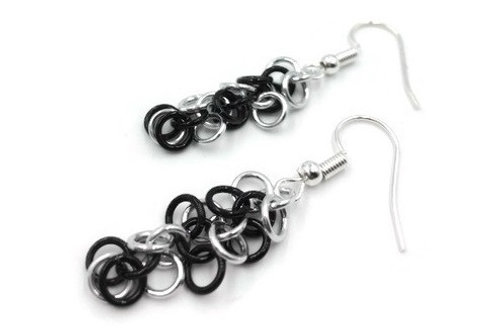 Shaggy Loops Earrings, Thin Stripes, Basic Hooks