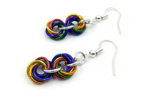 Double Mobius Earrings, Shiny Rainbow ($8-$9)