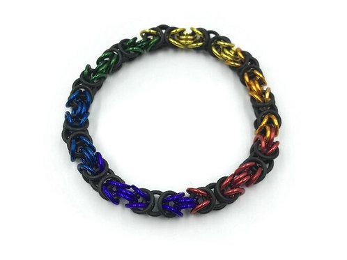 Stretchy Byzantine Bracelet, Rainbow