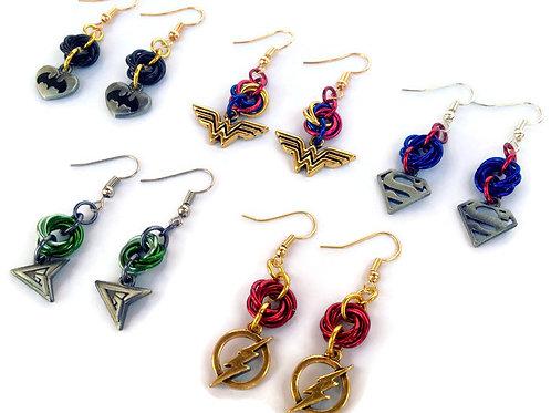 Mobius Charm Earrings, Superheroes ($7-$8)