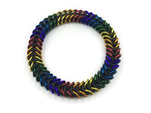 Stretchy Box Chain Bracelet, Rainbow