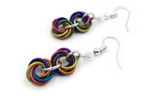 Double Mobius Earrings, Matte Rainbow ($8-$9)