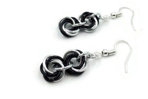 Double Mobius Earrings, Split, Clip-ons