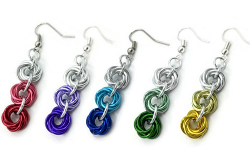 Triple Mobius Earrings, Color Fades ($11-$12)