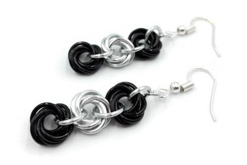 Triple Mobius Earrings, Stripe, Basic Hooks