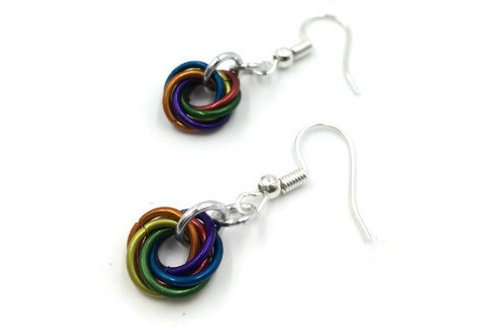 Single Mobius Earrings, Matte Rainbow ($5-$6)