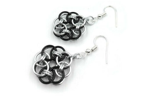 Helm Chain Medallion Earrings, Wave, Clip-ons