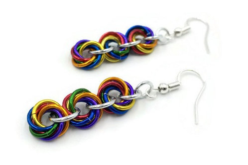 Triple Mobius Earrings, Shiny Rainbow ($11-$12)