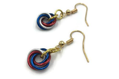 Single Mobius Earrings, Patriotic ($5-$6)