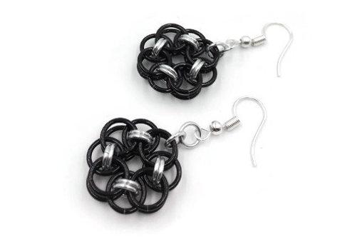 Helm Chain Medallion Earrings, Binary, Clip-ons