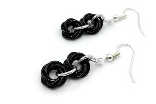 Double Mobius Earrings, Binary, Clip-ons