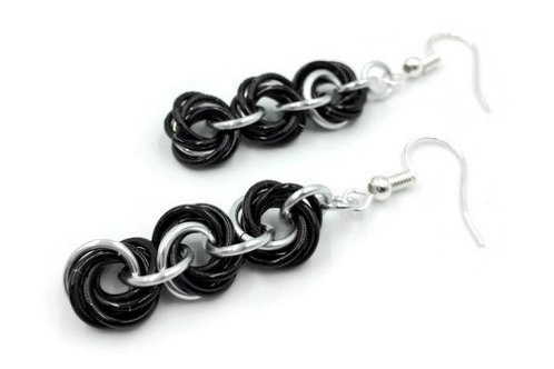 Triple Mobius Earrings, Vine, Hypoallergenic Hooks