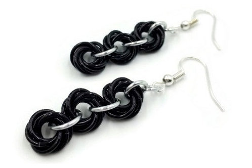 Triple Mobius Earrings, Binary, Basic Hooks