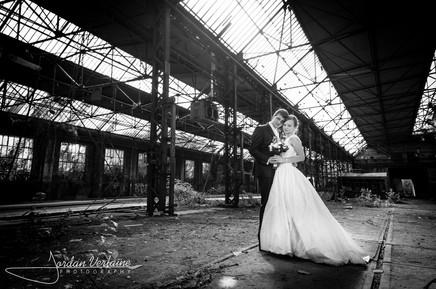 photo de mariage dans une usine