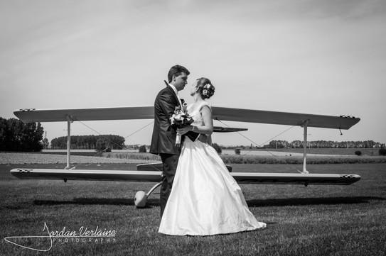 photo de mariage avec un avion