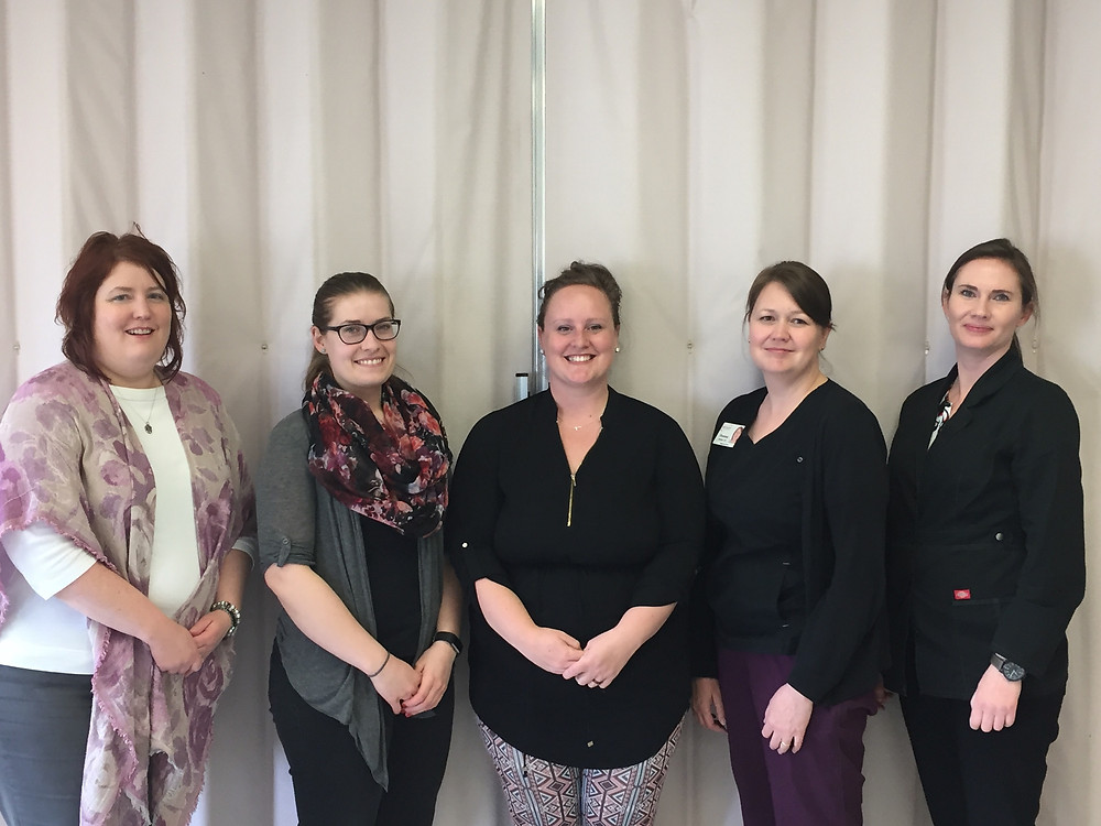 Bengough Team – Left to right: Trina Hodgson, Client Services Manager, Alzheimer's Society of Saskatchewan; Katelyn Kaufman, PT; Heidi Watson, OT; Deanna Hoffart, Home Care Nurse; Melissa McEwen, Nurse Practitioner
