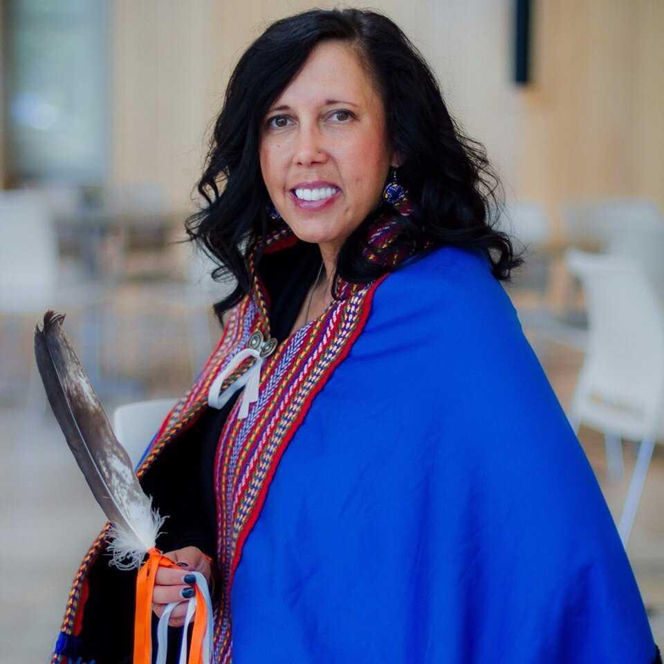 Dr. Carrie Bourassa in ceremonial robe
