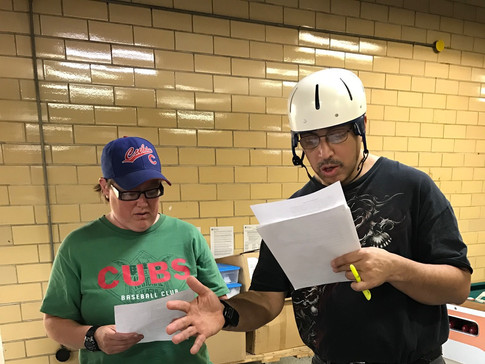 CPP actor and volunteer running lines