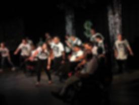 peformers rehearsing