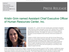 Kristin Grim named Assistant Chief Executive Officer of Human Resources Center, Inc.