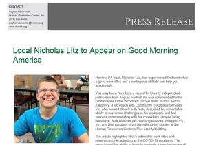 Local Nicholas Litz to Appear on Good Morning America