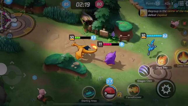 Partida em tempo real pokemon unite gameplay