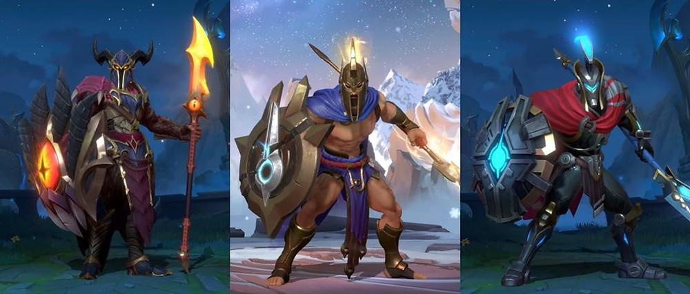 Pantheon Blindado e Pantheon Caçador de Dragões Wild Rift lol mobile skins