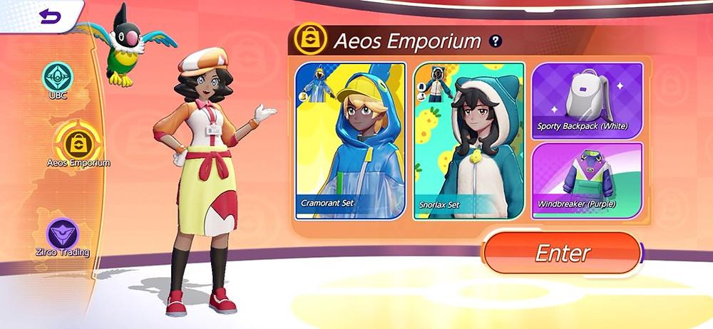aeos mart emporium pokémon unite loja skins roupas pokelol moba de pokémon