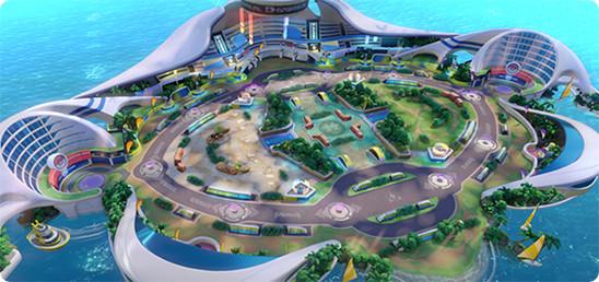 Imagem aérea do Mapa de Pokémon Unite. Uma ilha com alguns  prédios nas extremidades e duas rotas ao centro do mapa que é simétrico.