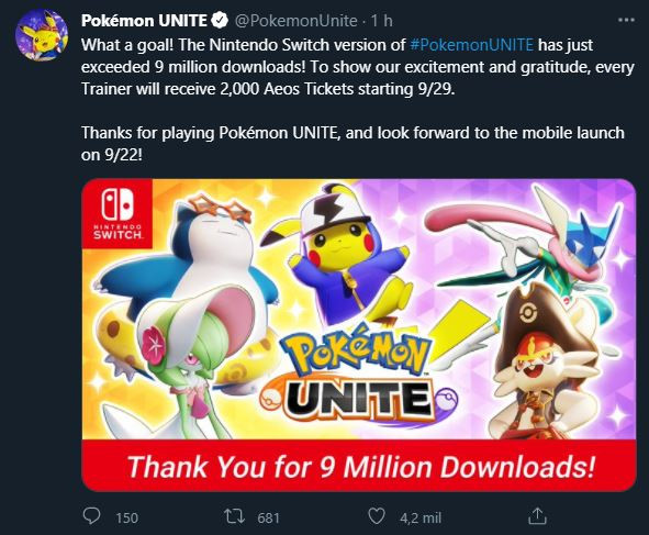 Pokémon unite 9 milhões recorde download playstore nintendo switch