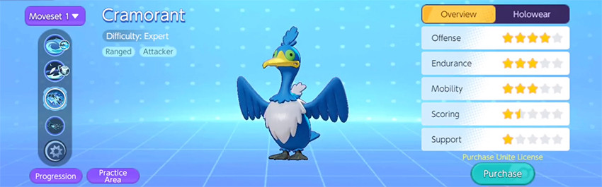 cramorant habilidades skills moveset pokémon unite moba de pokémon