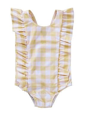 Yellow Ruffle Check Swimsuit