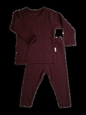 Luxury Children's Aubergine Ribbed Loungewear