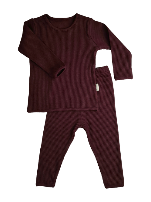 Luxury Children's Aubergine Ribbed Loungewear