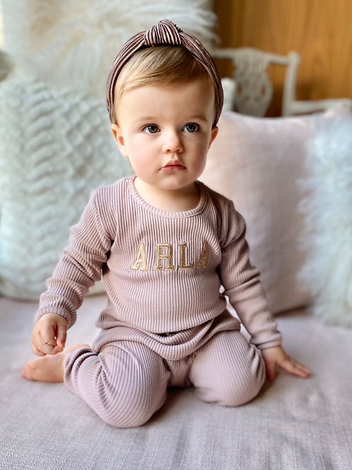 Personalised Ribbed Children's Loungewear Set