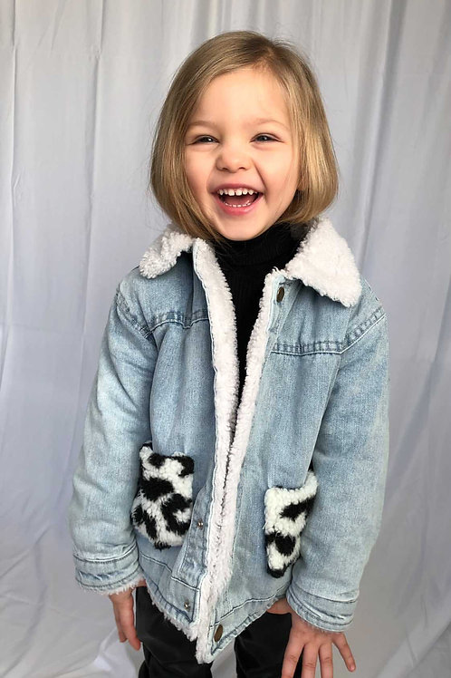Ella's Fleece Leopard Denim Jacket